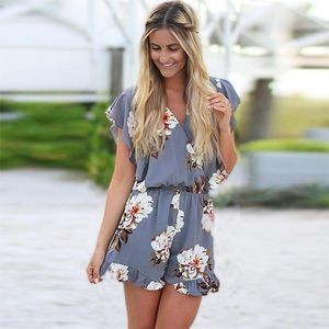 Pants - Boho Gray Floral Jumpsuit with Ruffled Sleeve